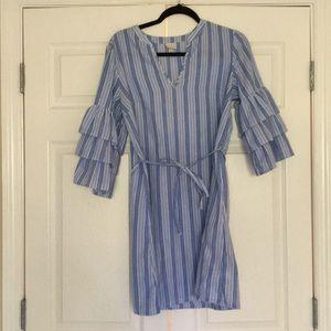 Ruffle dress with tie waist